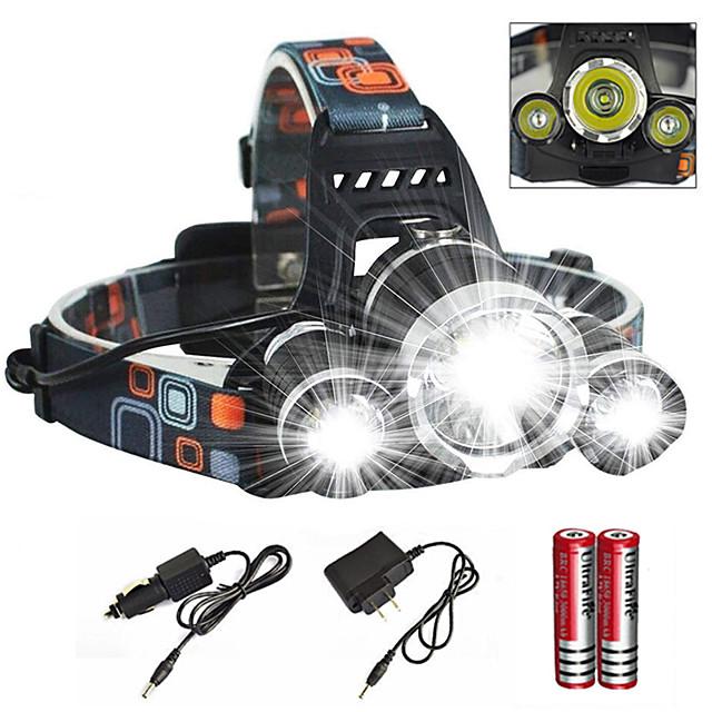 Pannlampor Framljus till cykel Vattentät Zoombar 6000 lm LED utsläpps 4.0 Belysning läge med laddare med batterier och laddare Vattentät Zoombar Uppladdningsbar Superlätt Camping / Vandring