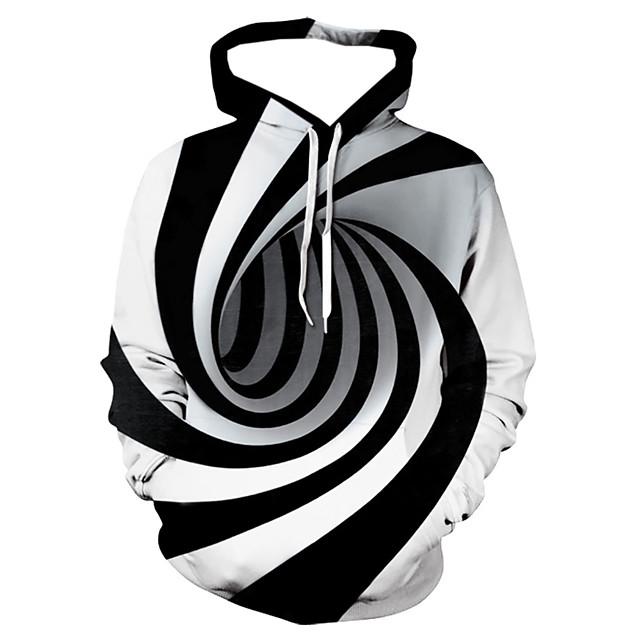 Per uomo Felpa con cappuccio Felpa con cappuccio nera Fantasia geometrica 3D Con stampe Con cappuccio Stampa 3D Essenziale Casual Felpe con cappuccio Felpe Manica lunga Bianco Viola / Autunno
