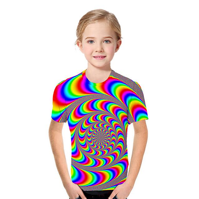 아동 토들러 여아 T 셔츠 티셔츠 짧은 소매 프린트 컬러 블럭 기하학 프린트 어린이 탑스 활동적 베이직 레인보우