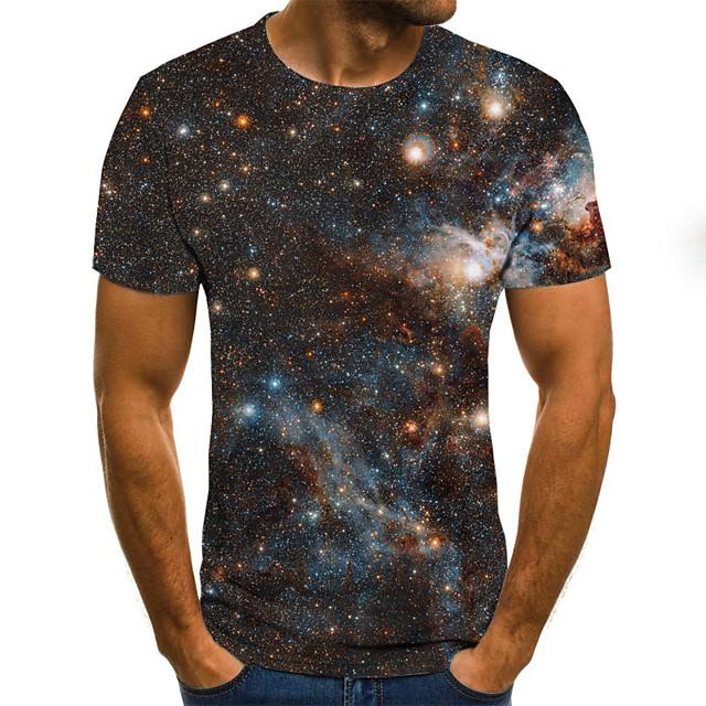 남성용 T 셔츠 도트무늬 컬러 블럭 3D 플러스 사이즈 프린트 짧은 소매 일상 탑스 베이직 과장된 레인보우