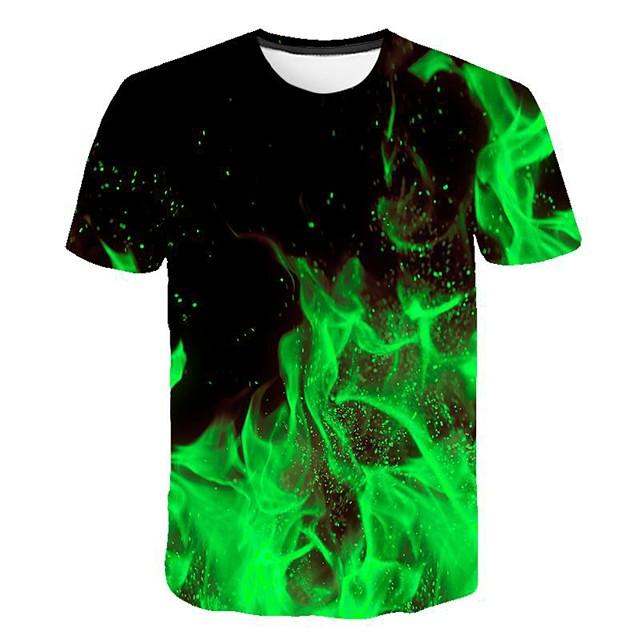 Herr 3D Grafisk T-shirt Tryck Kortärmad Dagligen Smal Blast Rund hals Grön