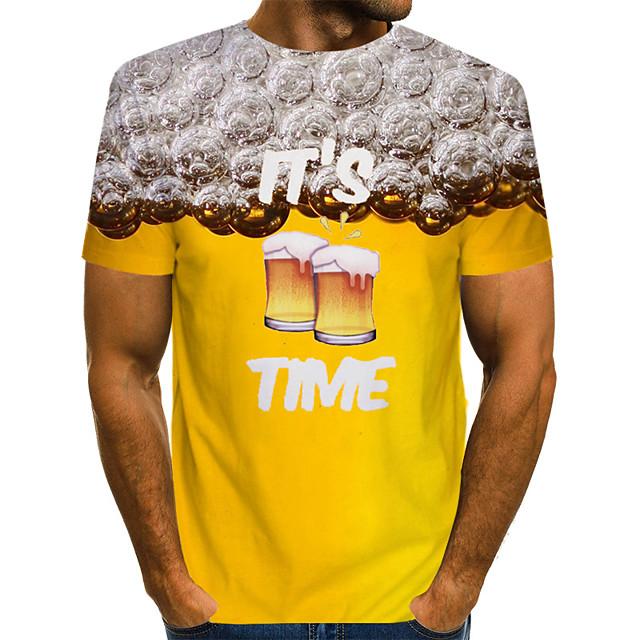 Veličina EU / SAD Majica s rukavima Muškarci - Ulični šik / pretjeran Karneval / Jabuka Color block / 3D / Slovo Okrugli izrez Print Bijela / Kratkih rukava