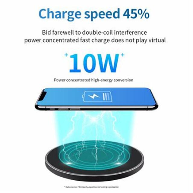 10 W Puissance de sortie Chargeur rapide Pad de chargement sans fil Chargeur Sans Fil Qi Invalide Pour Apple iPhone 12 11 pro SE X XS XR 8 Samsung Glaxy S21 Ultra S20 Plus S10 Note20 10 Airpods 1/2