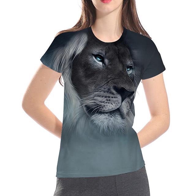 여성용 T 셔츠 3D 카툰 동물 플러스 사이즈 프린트 짧은 소매 일상 탑스 베이직 과장된 그레이