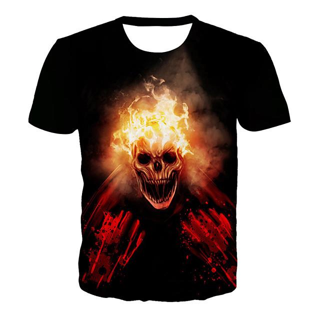 남성용 T 셔츠 그래픽 3D 해골 플러스 사이즈 프린트 짧은 소매 일상 탑스 베이직 과장된 블랙