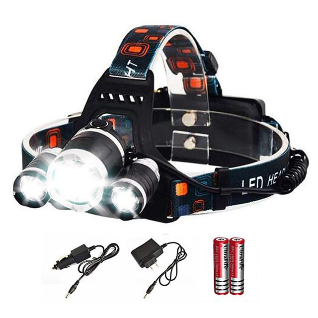Imperméable Rechargeable Lampes Frontales Phare Avant de Moto 6000 lm LED Émetteurs avec Piles et Chargeur 4.0 Mode d'Eclairage Camping / Randonnée / Spéléologie Usage quotidien Plongée / Plaisance