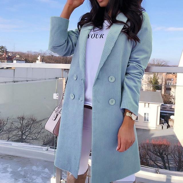 여성용 솔리드 가을 겨울 코트 긴 일상 긴 소매 폴리에스테르 코트 탑스 블랙