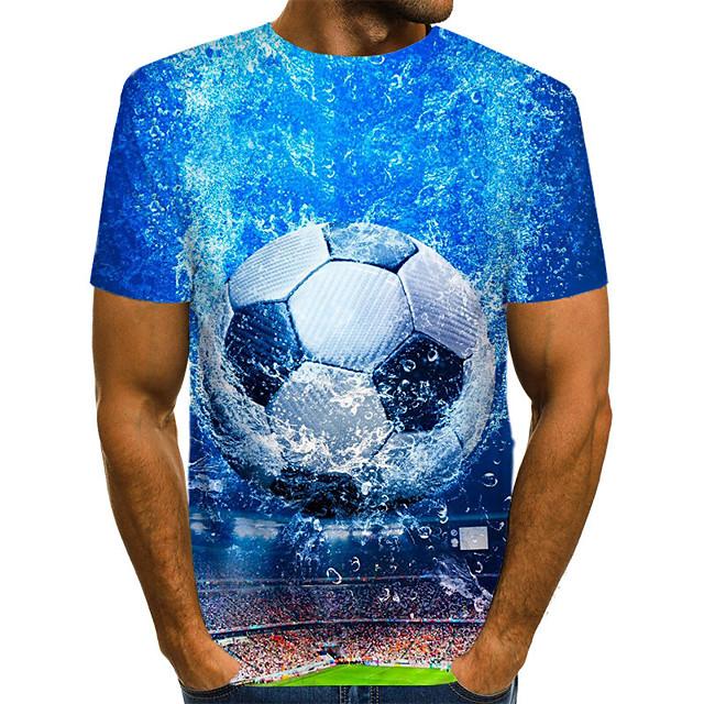 Herr T-shirt Skjorta Grafisk 3D Plusstorlekar Tryck Kortärmad Dagligen Blast Streetchic drivna Rund hals Blå / Sommar