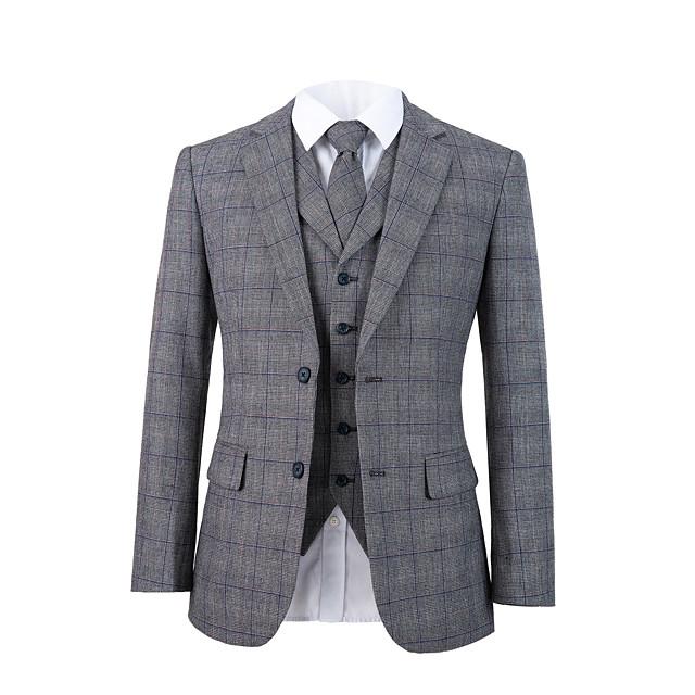 회색 격자 무늬 트위드 울 맞춤 양복