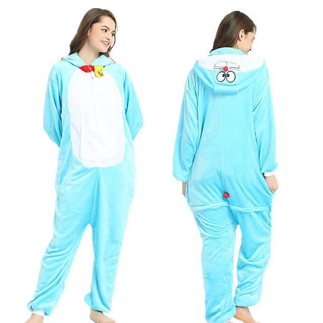 Erwachsene Kigurumi-Pyjamas Katze Pyjamas-Einteiler Flanell Leicht Blau Cosplay Für Herren und Damen Tiernachtwäsche Karikatur Fest / Feiertage Kostüme