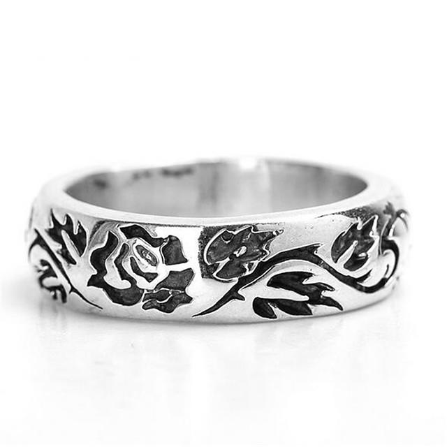 Band Ring Stil Vintage Argintiu Articole de ceramică Argilă Trandafiri Prețios Vintage Modă 1 buc 9 10 / Bărbați / Inel
