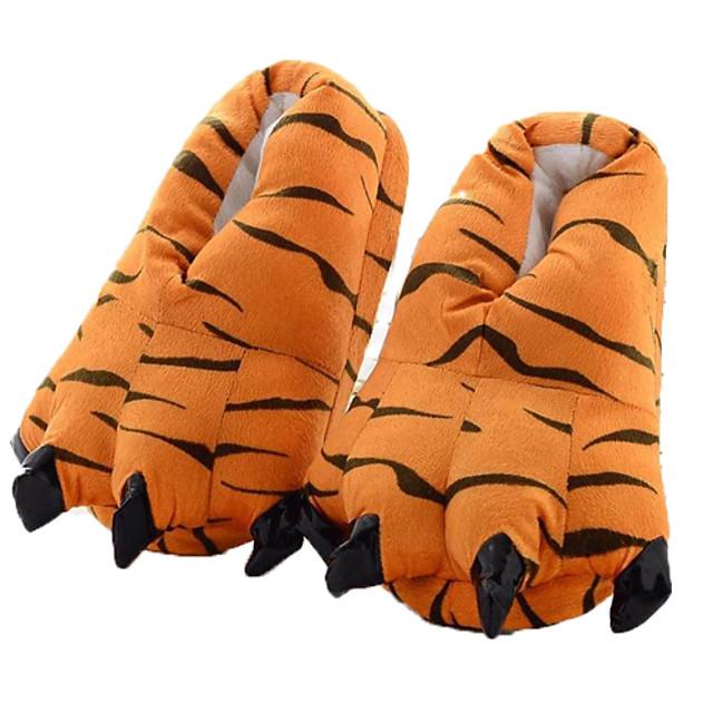Adulți Papuci pijamale Kigurumi Haine de noapte Camuflaj Tigru Animal Pijama Întreagă Poliester Bumbac Portocaliu Cosplay Pentru Bărbați și femei Haine de dormit pentru animale Desen animat Festival