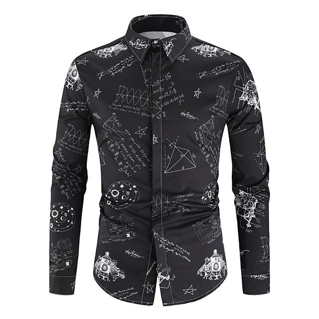 남성용 셔츠 기하학 프린트 긴 소매 일상 탑스 베이직 블랙