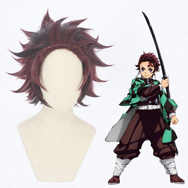 Demon Slayer: Kimetsu no Yaiba Kamado Tanjiro Peruci de Cosplay Bărbați 12 inch Fibră Rezistentă la Căldură Maro Închis Peruca Animei