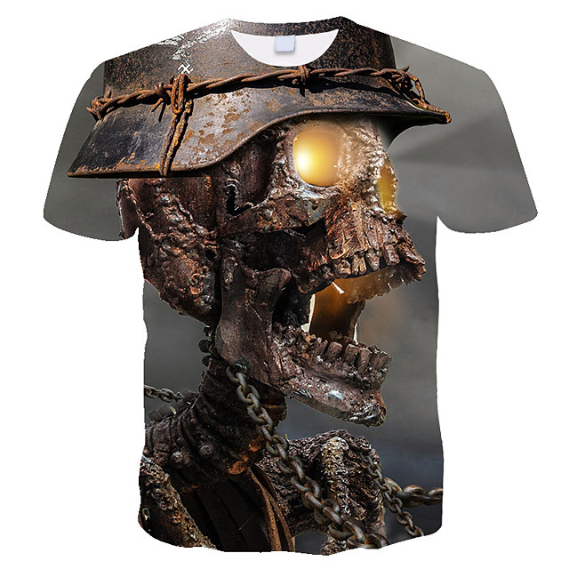 Men's T shirt 3D Skull Print Short Sleeve Daily Tops Streetwear Exaggerated Rainbow