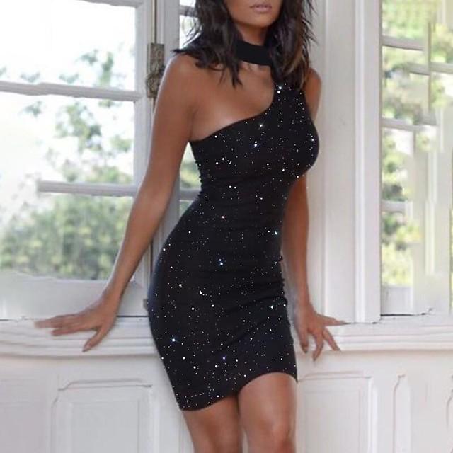 Dames Strakke jurk Mini-jurk Mouwloos Print Opdruk Herfst Winter Informeel 2021 Zwart S M L XL XXL 3XL