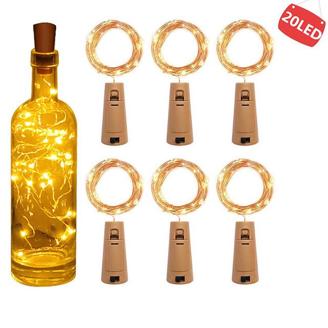 6pcs 2m 20 leds bouteille de vin lumières avec liège intégré batterie LED forme de liège fil de cuivre argenté coloré fée mini guirlande
