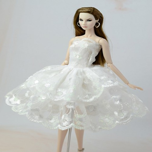 Barbie Doll White Lace Angel's Wing Dress