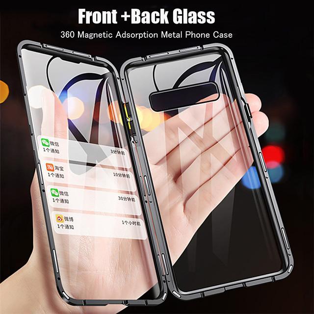 telefono Custodia Per Samsung Galaxy Integrale S9 S9 Plus S8 Plus S8 S10 S10 + Con chiusura magnetica Transparente A calamita Transparente Vetro temperato Metallo