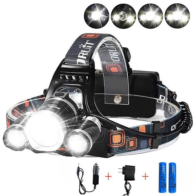 Lampes Frontales Phare Avant de Moto 3000 lm LED 3 Émetteurs 4.0 Mode d'Eclairage avec Piles et Chargeurs Contrôle d'angle Pour Véhicules Ultra léger Camping / Randonnée / Spéléologie Cyclisme Chasse