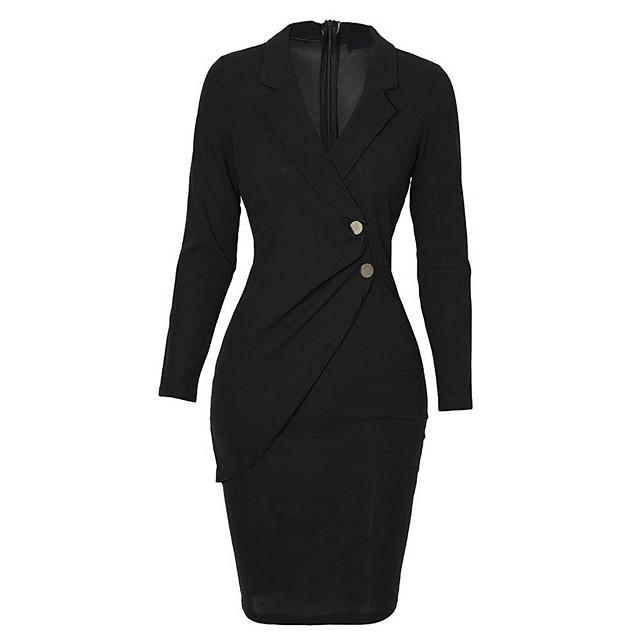 Women's Wrap Dress Knee Length Dress Black Wine Gray Long Sleeve Solid Color Fall Shirt Collar Work 2021 S M L XL XXL