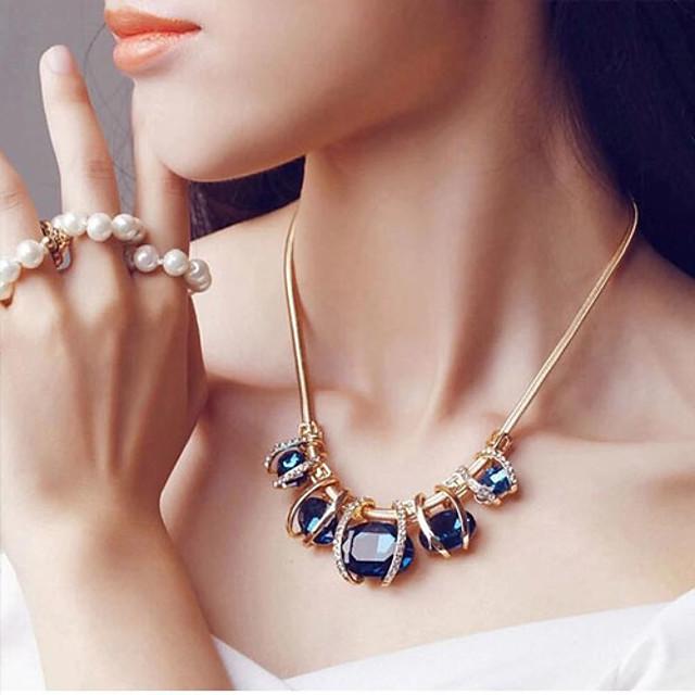 Pentru femei Safir Cristal Coliere Coliere cu Pieptar Vărsătorul femei European Festival / Vacanță Elizabeth Locke Cristal Diamante Artificiale Verde Închis Albastru Coliere Bijuterii Pentru