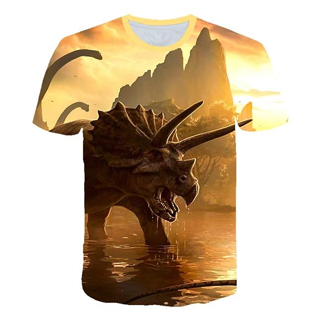 Enfants Bébé Garçon T-shirt Tee-shirts Manches Courtes Créatures Fantastiques Imprimé Imprimé Enfants Le Jour des enfants Eté Hauts Actif Chic de Rue Violet Rouge Kaki