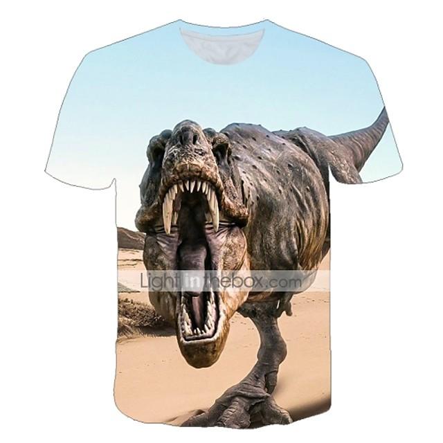 Enfants Bébé Garçon T-shirt Tee-shirts Manches Courtes Créatures Fantastiques Imprimé Animal Imprimé Enfants Le Jour des enfants Eté Hauts Actif Chic de Rue Violet Rouge Jaune