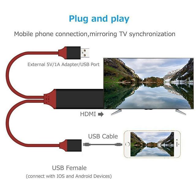 HDMI Lightning Адаптер Все в одном От 1 до 2 Позолота 1.0m (3FT) TPE Назначение iPhone Аксессуар для мобильных телефонов