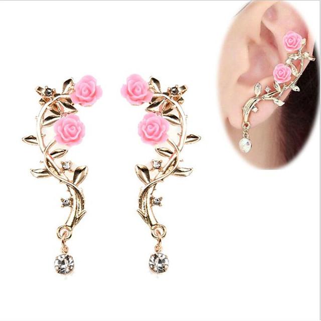 Dames Oorknopjes Clip oorbellen Klassiek Flower Shape oorbellen Sieraden Goud Voor Bruiloft Feest Festival 1 paar