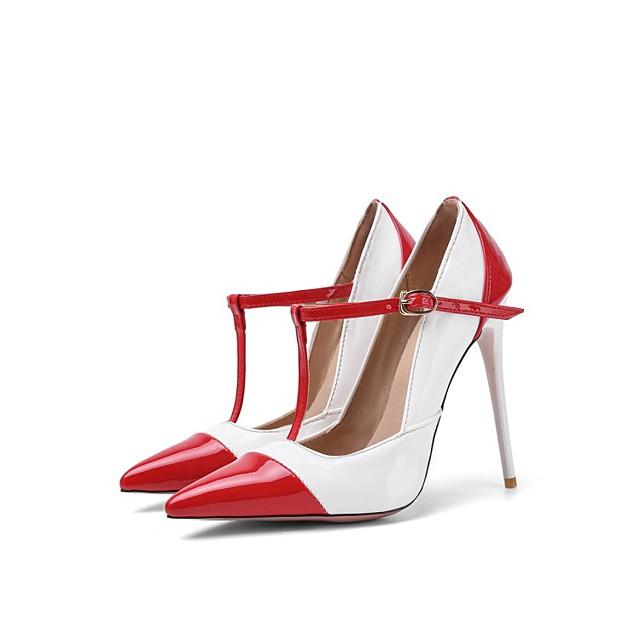 نسائي كعوب كعب ستيلتو حذاء براس مدبب مناسب للبس اليومي PU المواد التركيبية أبيض أسود أحمر