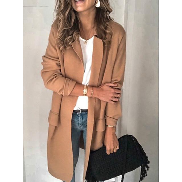 여성용 블레이저 솔리드 컬러 폴리 에스테르 코트 탑스 블랙 / 블러 슁 핑크 / 카키