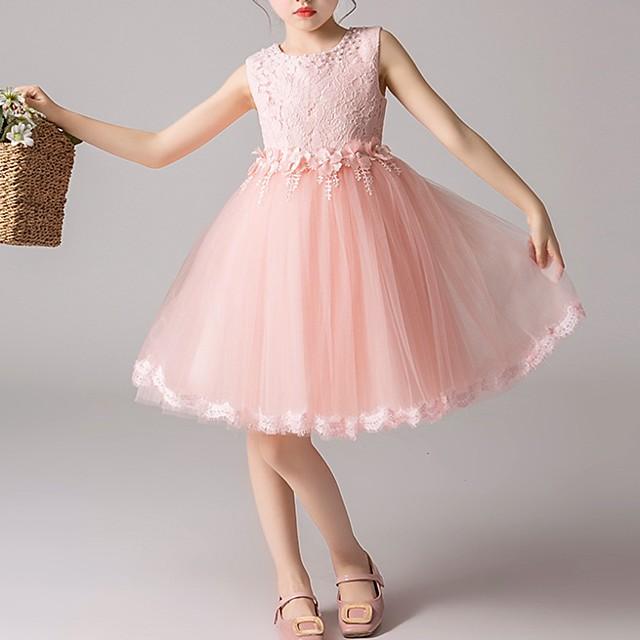 아동 작은 여아 드레스 솔리드 꽃장식 파티 캐쥬얼 화이트 블러슁 핑크 밝은 블루 귀여운 스타일 단 드레스 3 ~ 12 세