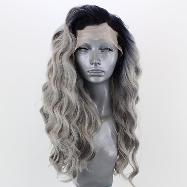 Perruque avant en dentelle synthétique Ondulé Partie latérale Dentelle sur le devant Perruque Longue Rose Blond Platine Vert Gris noir Violet Cheveux Synthétiques 18-26 pouce Femme Ajustable