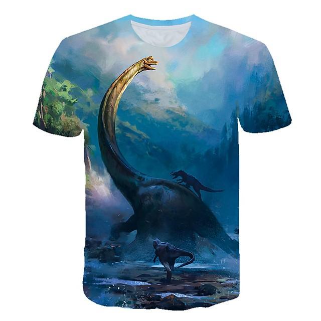 Enfants Bébé Garçon T-shirt Tee-shirts Manches Courtes Dinosaure Créatures Fantastiques Impression 3D Animal Casual Col ras du cou Enfants Le Jour des enfants Eté Hauts Actif Chic de Rue Blanche Bleu