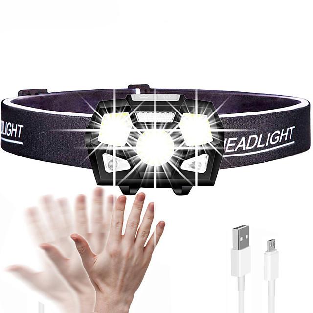 Lampes Frontales Lampe frontale à détecteur de mouvement Mini LED 3 Émetteurs 5 Mode d'Eclairage avec Câble USB Mini Portable Ajustable Etanche Durable Batterie intégrée Camping / Randonnée