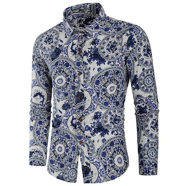 남성용 셔츠 기하학 프린트 긴 소매 일상 탑스 베이직 밝은 블루