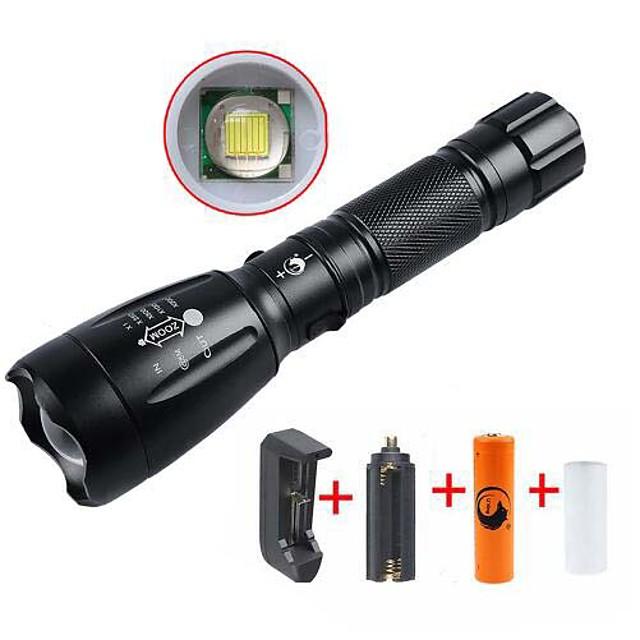 UltraFire Lanterne LED Rezistent la apă Reîncărcabil 2200/1000 lm LED LED 1 emițători 5 Mod Zbor Cu Baterie și Încărcător Rezistent la apă Reîncărcabil Focalizare Ajustabilă Camping / Cățărare