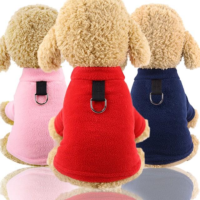 Psi Mačke T-majica Mellény Odjeća za štenad Jednobojni Ležerno / za svaki dan Zima Odjeća za psa Odjeća za štenad Odjeća za pse Crvena Pink Dark Blue Kostim za psa za djevojčice i dječake Pliš XS S M