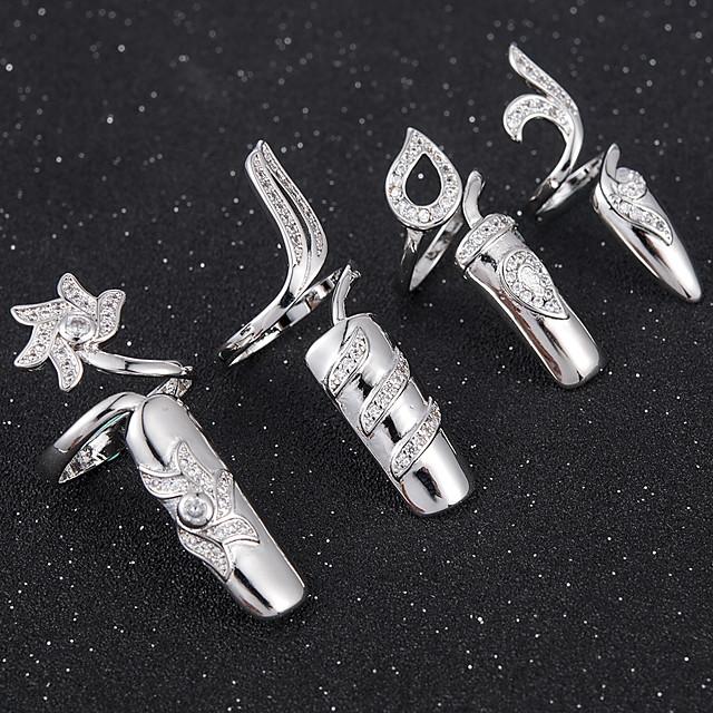 Pentru femei Inel de declarație Unghiul degetului unghiilor Auriu Argintiu Argilă femei Personalizat Neobijnuit Nuntă Petrecere Bijuterii Floare Confecționat Manual