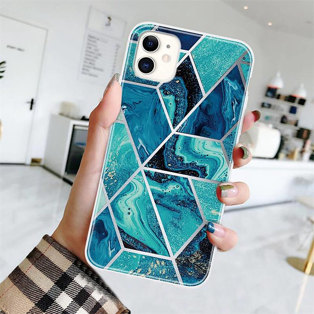 Case For Apple iPhone 12 / iPhone 11 / iPhone 12 Pro Max Ultra-thin / Pattern Back Cover Geometric Pattern / Marble TPU