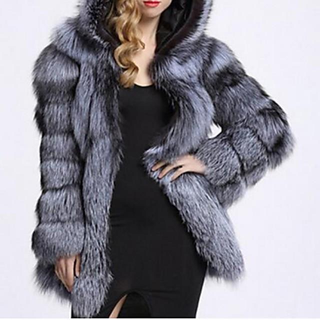Per donna Cappotto di pelliccia Tinta unita Standard Quotidiano Manica lunga Pelliccia sintetica Cappotto Top Bianco