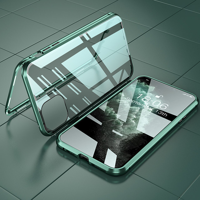 Case Kompatibilitás Apple iPhone 12 / iPhone 12 Mini / iPhone 12 Pro Max Ütésálló Fekete tok Egyszínű Alumínium