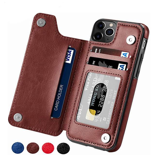 telefono Custodia Per Apple Per retro Custodia in pelle iPhone 12 Pro Max 11 SE 2020 X XR XS Max 8 7 6 Porta-carte di credito Tinta unica pelle sintetica