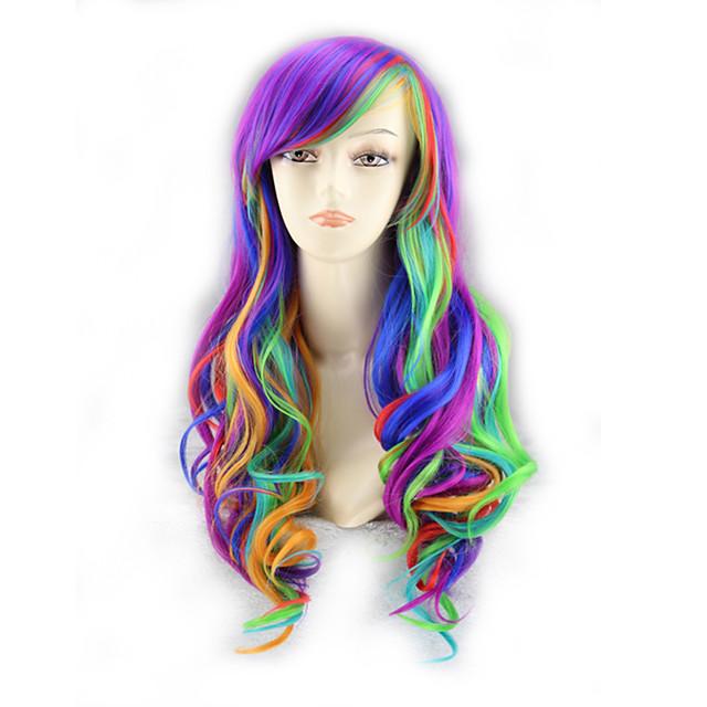 인조 합성 가발 곱슬한 비대칭 헤어컷 가발 매우 긴 옹 브르 색상 인조 합성 헤어 39 인치 여성용 최고의 품질 퍼플