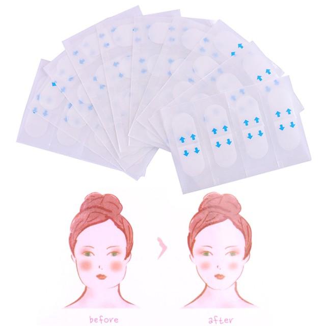 40 قطعة غير مرئية ملصقات الوجه رقيقة ضيقة خط التجاعيد ترهل الجلد v- شكل شد الوجه الشريط
