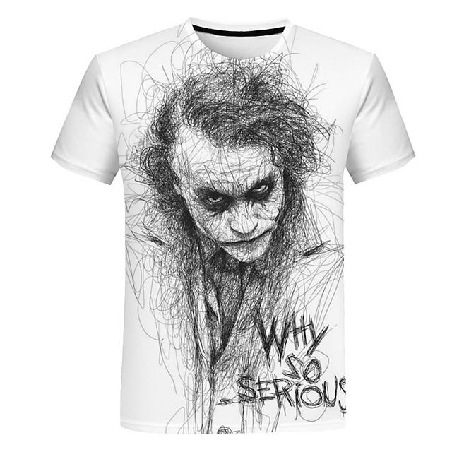 Per uomo Ritratto T-shirt Manica corta Quotidiano Top Rotonda Bianco