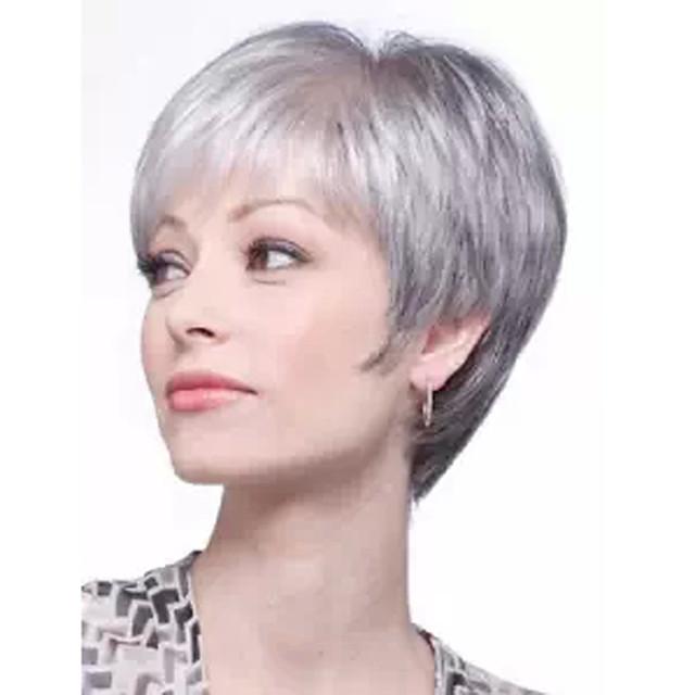 Perruque Synthétique Bouclé Coupe Asymétrique Perruque Court Grise Cheveux Synthétiques 27 pouce Femme Blanc
