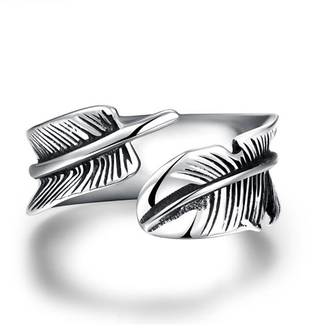 ผู้ชาย แหวน ทางเรขาคณิต สีเงิน Titanium Steel Feather แฟชั่น 1pc 8 9 10 11 12 / สำหรับผู้ชาย