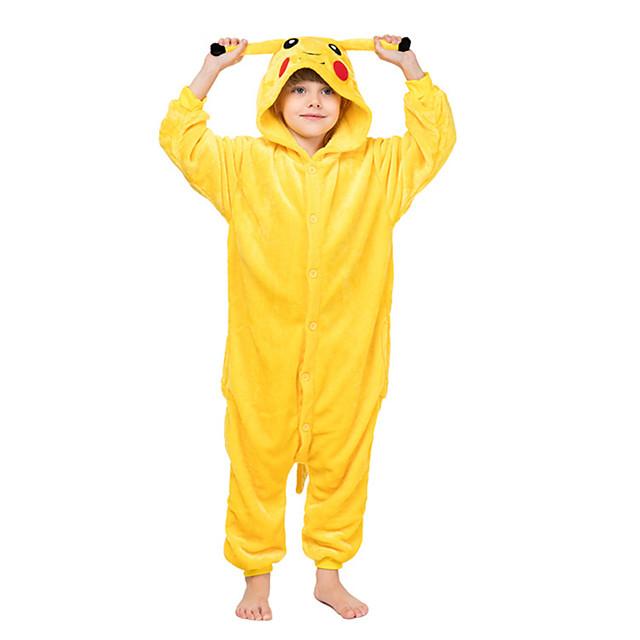 Pentru copii Pijama Kigurumi Pika Pika Animal Pijama Întreagă Flanel Lână Galben Cosplay Pentru Baieti si fete Sleepwear Pentru Animale Desen animat Festival / Sărbătoare Costume / Leotard / Onesie